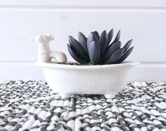 White Succulent Planter, Artificial Succulent Decor, Porcelain Farmhouse Decor, Vintage Botanical Accent, Purple Succulent Accent