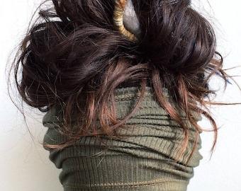 Olive Headband | Dreadband, Hair Tube, Dread Sock, Loc Wrap, Wide Head Band | Long band, Dreadlock, Updo, Hair Wrap | Eco Friendly Headband