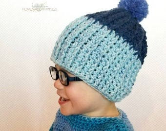 Ribbed Crochet Beanie PATTERN - Easy Crochet Pattern - Beginner Crochet Pattern - Crochet Hat Pattern - Kids Hat - Kids Beanie