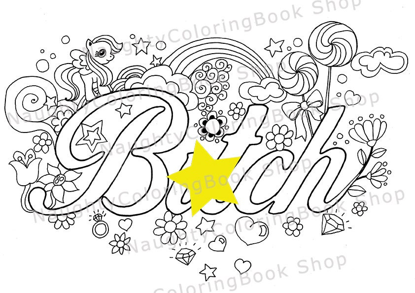 Btch Swear Words Printable Coloring Pages Word Adult Free Abstract
