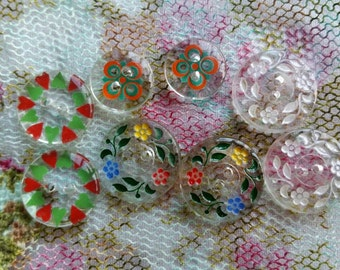 Pretty flower design vintage glass buttons × 8