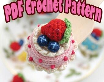 PDF Amigurumi / Crochet Pattern Amigurumi dessert jewelry Berries N' Cream Cake Ring CP-15-3252