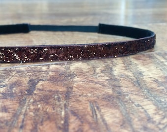 Brown glitter headband. Brown headband, brown sparkle headband, running headband, workout headband, fitness headband, women's, girl's, hair