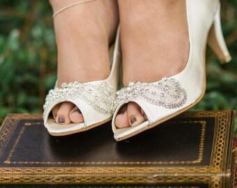 bridal Shoes, Wedding embellished peep toe shoes, ivory bridal heels, wedding shoes with crystal, Bridal peep toe shoes, Ivory wedding shoes