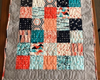 Baby Quilt - Modern Baby Quilt - Patchwork Baby Quilt -  Handmade Baby Quilt - Baby Shower Gift - Modern Quilt - Quilted Tablecloth - Cute