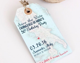Wedding invitation Italy map Save the Date Luggage Tag Magnet. Surprise party or Destination Wedding. Design fee