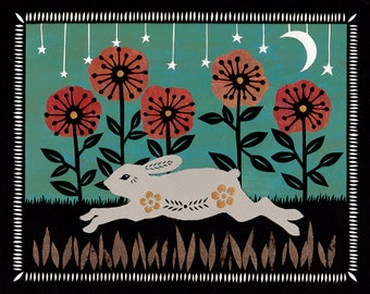 Springing Through The Field - 8 x 10 inch Cut Paper Art Print
