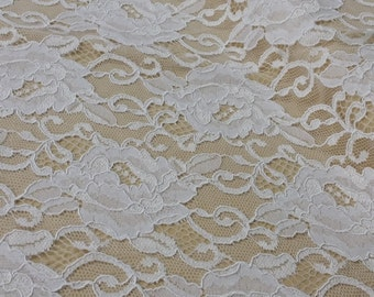 Snow white lace fabric, French Lace, Embroidered lace Wedding Lace Bridal lace White Lace Veil lace Lingerie Lace Alencon Lace L92812