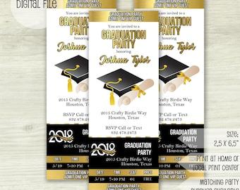 Graduation Ticket Invitation- Grad Invite- Graduation VIP Pass- Graduation Announcement- High School Graduation Invite-Graduation Party