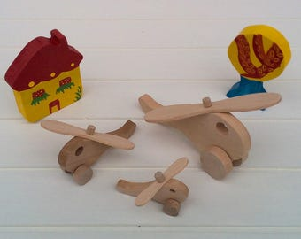 Wooden toys on wheels - Helicopter