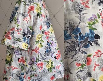 Pretty 1950's Multi Coloured Floral Cotton Trapeze Shape Smock Top Label: Banner UK Size One Size Original Vintage 50's Fifties