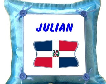 Blue Dominican Republic custom cushion with name