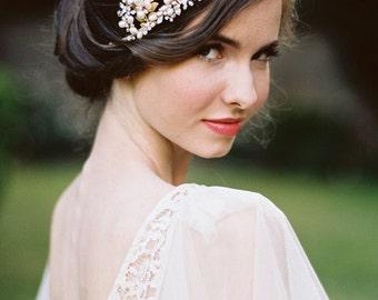 Woodland Grecian Headpiece Pearls Embellished Headband Tiara Bridal Headpiece - Aphrodite