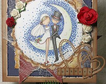 Congratulations Wedding Marriage Bride Groom Congrats Hearts Love Unique One of A Kind Unusual Handmade Greeting Card