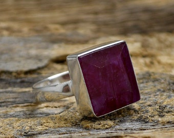 Natural Red Ruby Gemstone Ring, 925 Sterling Silver Ring, July Birthstone Ring, Gemstone Silver Ring, Square Facete Ruby Ring, Gift For Her