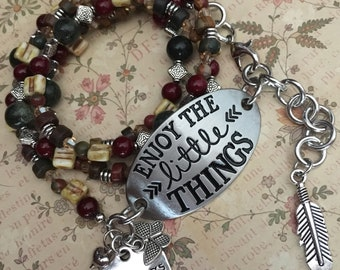 Item 575    ON RESERVE    Enjoy The Little Things Bead & Charm Wrap Bracelet