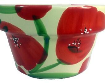 "Ceramic Hat Pot - Poppy Floral - 8"" x 4 3/4"""