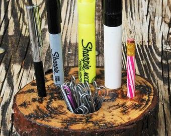 Novel Electrocuted Wood Desk Organizer Pen Holder - Pine Slice