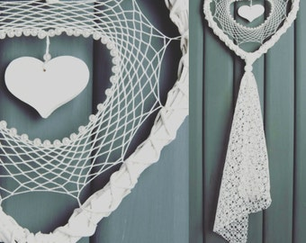 Wedding Dream Catcher White Cream Heart Wedding Decor Lace Dreamcatcher Shabby Chic Modern rustic decor wall hanging wall decor