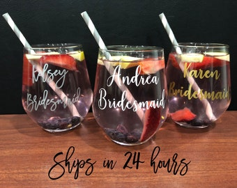 Wine Glasses - Wine Glass with Sayings - Custom Wine Glass - Personalized Wine Glass - Wine Glass for Mom - Name Wine Glass - Etched Glass