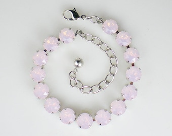 Pale Pink Rhinestone Bracelet Swarovski Rose Water Opal Wedding Jewelry Bridesmaid Prom Jewelry