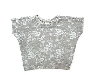 Aloha Floral Dolman Sweatshirt. Short Sleeve White Floral on Grey French Terry, Brown Sugar Beach
