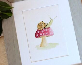 Mushroom Decor, Whimsical Nursery, Kids Art, Watercolor Illustration, Woodland Nursery, Woodland Animal, Kids Room Art,  Whimsical Print