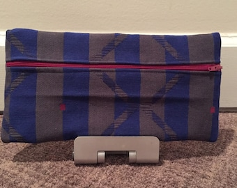 Blue striped pouch