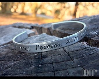 As Endless as the Ocean, as Timeless as the Tides Hand Stamped Bracelet - Aluminum Bracelet - Cuff Bangle Bracelet - Customize - Personalize
