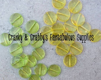 Clear Flat Beads - green or Yellow - 21mm - Bag of 20 -  Chunky Necklaces  - March Madness Sale