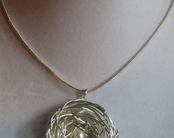 """18"""" Bird's Nest Necklace on Silver Chain, necklace, pendant, bird, nest, silver chain, egg"""