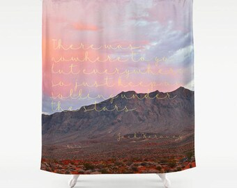 Jack Kerouac On the Road, Quote Shower Curtain, Inspirational Quote, Boho Shower Curtain, Literary Gifts, Boho Decor, Pink, Gifts for Her