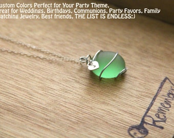Sugary SEA GLASS Necklace perfect for the bridal party- YOU choose the color, custom initial, personalized jewelry, custom jewelry