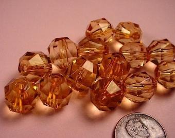 14 Vintage Faceted Plastic Topaz Barrel Beads 12x11