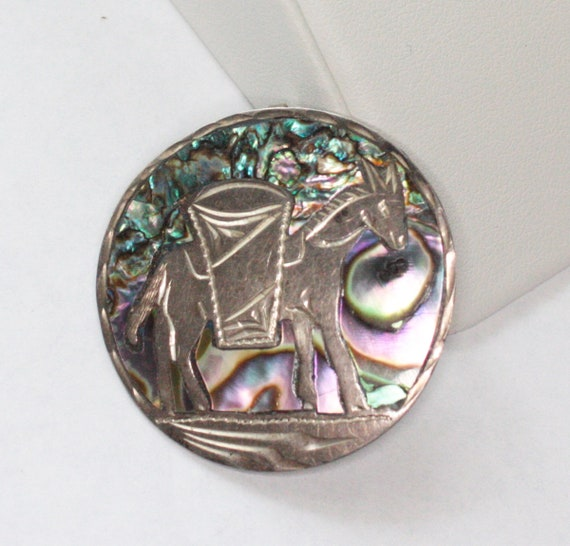 Donkey Sterling and Abalone Convertible Brooch Pendant Mexico Signed MR Vintage