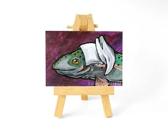 Rainbow Trout Original ACEO Fish Art, White Bonnet, Animal Portrait, Anthro Artwork, Rustic Decor, Acrylic Painting, Wildlife Art