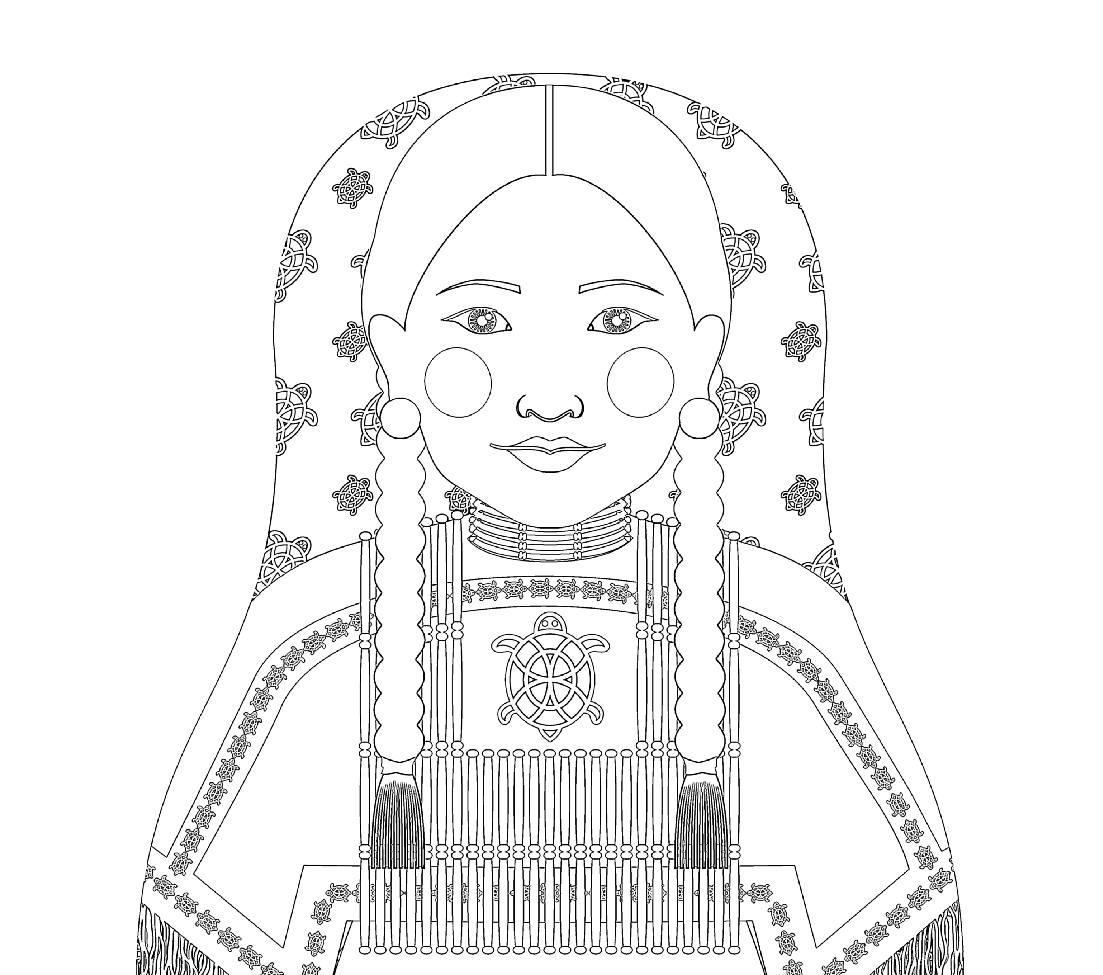 Native American Woman Matryoshka Coloring Sheet Printable file