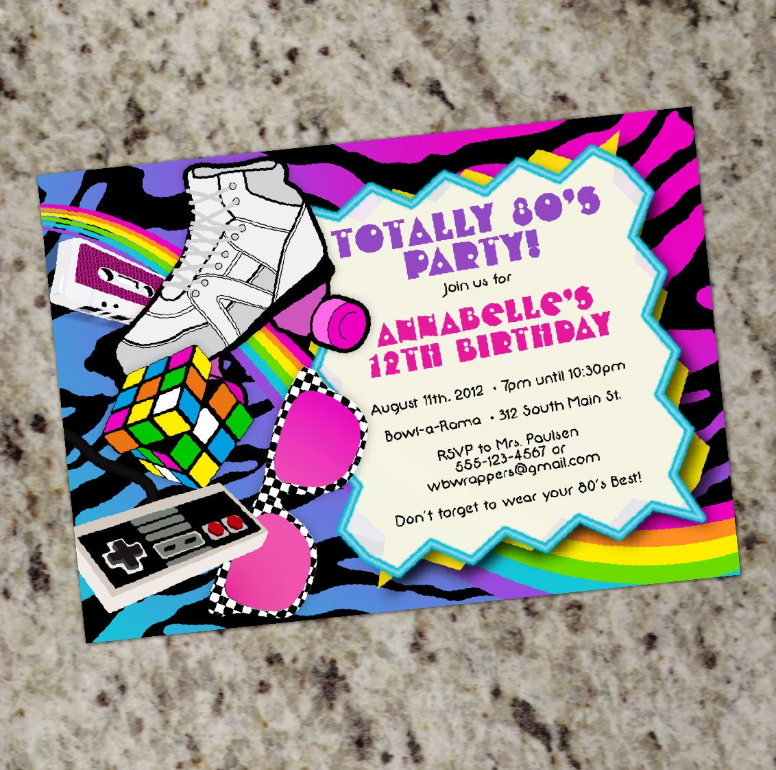 80s Birthday Party Invitations TOTALLY 80s 1980s Themed