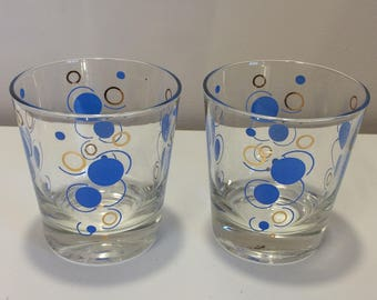 Vintage Retro Bar Drink Glass x2 Blue and Gold Bubbles