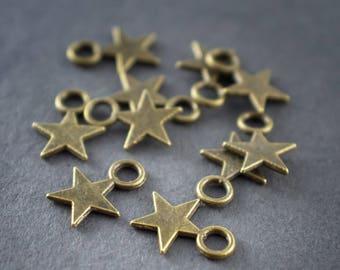 20 charms bronze metal star charms * 20pcs * 12mm