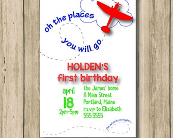 Oh The Places You Will Go Birthday Invitation, birthday, party, invitation