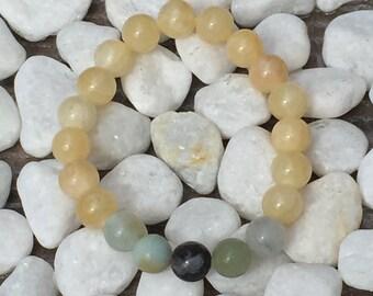 YELLOW JADE, AMAZONITE Healing Crystal Stone Bead Bracelet