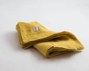 Cloth napkins - Table linen - Linen dinner napkins - Linen napkins - Yellow linen napkins - Organic cloth napkins - Softened linen napkins