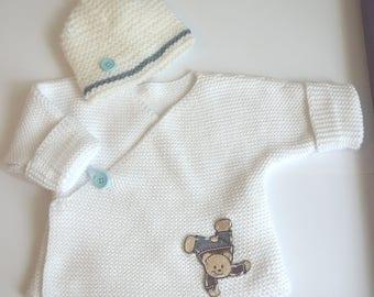 White newborn Teddy bear top hat boy mixed 0/3 months baby set