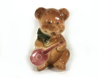 Vintage Ceramic Vase, Teddy Bear with Pink Banjo, Green Bow at Neck