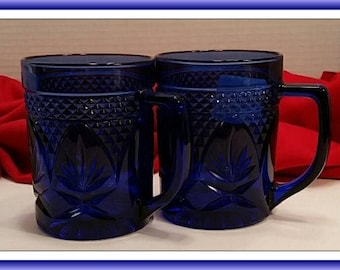 Set of 2 Cobalt Blue Pineapple Cut Glass  Coffee Mug