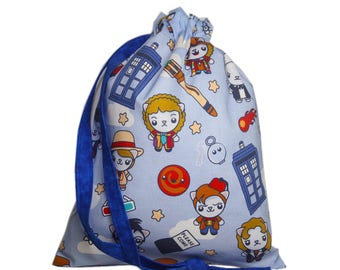 Knitting Bag-Sock Knitting Bag-Cats Project Knitting Bag-Doctor Who Knitting Project Bag-TARDIS Bag-Sock Bag-Project Bag