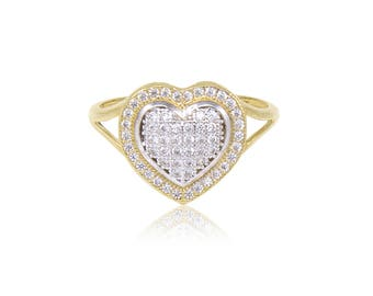10K Solid Yellow Gold Cubic Zirconia Cluster Heart Ring - Love Polished Finger Band