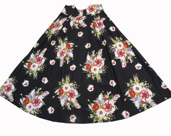 High Waisted Skirt , Long Skirt , Floral Skirt , Pleated Skirt , Print skirt , Full Skirt , Retro Style  , Skirt with pockets