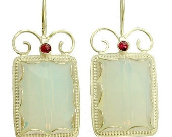 Opaline grenat boucles d'oreilles, bohème bijoux, effervescent de couleur argent boucles d'oreilles, boucles d'oreilles de pierres précieuses, les boucles d'oreilles mariées - Once upon a time - E7755